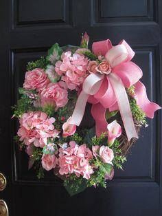 Hydrangea Wreath Easter Wreath Summer Wreath Spring by FunFlorals Silk Flower Wreaths, Pink Wreath, Hydrangea Wreath, Pink Hydrangea, Floral Wreaths, Wreaths For Front Door, Door Wreaths, Grapevine Wreath, Rustic Wreaths