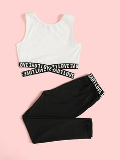 Apr 2020 - Girls Letter Print Crisscross Hem Tank Top & Leggings Set – Kidenhouse Cute Lazy Outfits, Crop Top Outfits, Kids Outfits Girls, Sporty Outfits, Teenager Outfits, Pretty Outfits, Stylish Outfits, Vans Girls, Legging Outfits