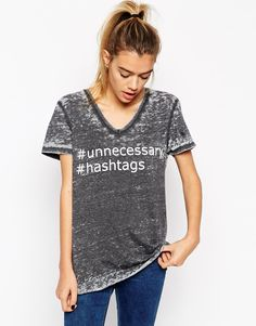 ASOS T-Shirt with V Neck in Burnout with Hashtag Print