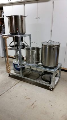 Finally built myself a weldless brew stand. Streamlines my brew day setup and makes for efficient equipment storage. equipment storage You are in the right place about coffee Brewing equipmen Home Brewery, Home Brewing Beer, Brewing Recipes, Beer Recipes, Brew Stand, Small Apartment Storage, Home Brewing Equipment, How To Make Beer, Food Preparation