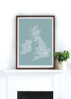 British Isles Type Map in Duck Egg Blue . I really want this for my kitchen.