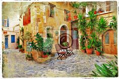 Wall mural Chania,Crete- old charming streets
