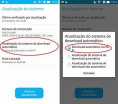 Já é possível atualizar o Zenfone 2 e o Zenfone Zoom para o Android Marshmallow, a versão 6.0 do sistema do Google. Neste post nós vamos te mostrar como atualizar automaticamente e manualmente: Atualização automática Primeiro verifique se não está disponível a atualização automática para o seu Zenfone. Pra fazer isso vá em Configurações>Sobre>Atualização do Sistema >Verificar Atualização. Se o ...