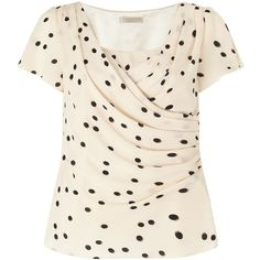 Jacques Vert Petite Wrap Front Blouse, Neutral ($55) ❤ liked on Polyvore featuring tops, blouses, petite, short sleeve tops, pink polka dot blouse, ruched top, print blouse and pattern blouse