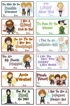 Harry Potter Free Printable Harry Potter Valentines - Do you need a valentine idea for your kids? How about these cute watercolor Harry Potter valentines? They work perfect for boys and girls! Harry Potter Hermione, Harry Potter Thema, Harry Potter Free, Theme Harry Potter, Harry Potter Ron And Hermione, Harry Potter Professors, Harry Potter Valentines Cards, Diy Valentines Cards, Harry Potter Cards