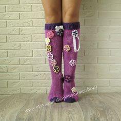 Knee high Socks Hand made socks Wool socks Hand knit socks knit socks womens. Knee high Socks Hand made socks Wool socks Hand knit socks. Knitting Socks, Knit Socks, Baby Knitting, Womens Wool Socks, Women Socks, Baby Patterns, Knitting Patterns Free, Joining Yarn, Purple Socks