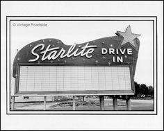 The Starlite Drive In theater in South El Monte, California circa. 1949.    Silver gelatin print from original negative.