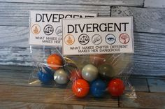 Divergent Inspired Party Favors 6 gumball bags by FavorsShmavors 13th Birthday Parties, 14th Birthday, Teen Birthday, Grad Parties, Birthday Ideas, Divergent Birthday, Divergent Party, Party Themes, Party Ideas