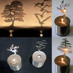 Luminária de vela criativa.