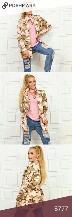 ARMY PRINT JACKET Brand new Boutique item Price is firm  On trendy and popular Military army print jacket. Pair with one of our fabulous lace up sweaters and leggings or with a tank top and jeans! Drawstrings/pockets/zip up front.   Kardashian jean jacket coat green pink mulit color camouflage camo camp  ✔️ Same-Business-Day Shipping (12pm PST). ✔️ Price shown is firm unless bundled.  ❌ No trades, thank you! MODA ME COUTURE. Jackets & Coats