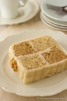 Coffee and Walnut Battenburg Cake