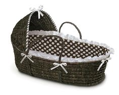 Espresso Moses Basket with Hood - Brown Polka Dot Bedding - I love these Moses Baskets!!