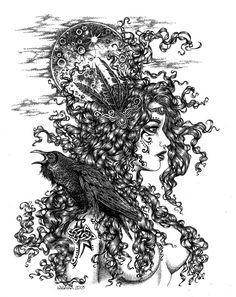 The Morrigan - Goddess with Raven by LKBurke29 on deviantART