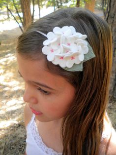 SALE  Felt Flower Headband  White by LittleBloomsHandmade on Etsy, $8.00