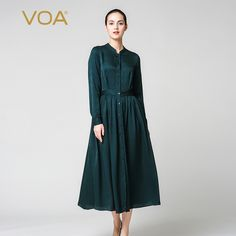 Find More Dresses Information about VOA dark green stand collar long sleeved cardigan style silk dresses vintage folds autumn mid calf dress A2910 Ms.,High Quality silk dress,China mid calf dresses Suppliers, Cheap dress vintage from VOA Flagship Shop on Aliexpress.com