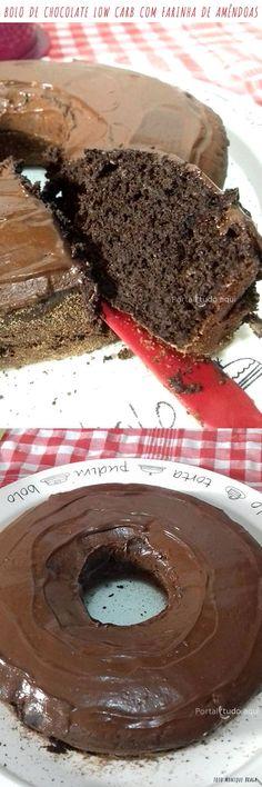 Aprenda a fazer essa receita de bolo Low Carb de chocolate com farinha de amêndoas que fica uma delícia! Chocolate Low Carb, Bolos Low Carb, Good Food, Yummy Food, Tasty, Low Carbon, Healthy Cake, Lactose Free, Low Carb Recipes