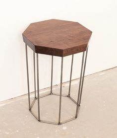 Side Table  Octagon Solid Walnut w Brass or Steel by dylangrey, $325.00