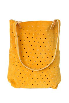 Love this cheery color and the punched holes on this #suede #purse