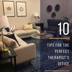 Want an office that stands out from the crowd? Use my tips to make any therapist& office more therapeutically helpful, and more memorable, to clients. Therapist Office Decor, Counseling Office Decor, Counseling Office Private Practice, Career Counseling, Counselling Room, Psychologist Office, Office Cube, Office Set, Interior Exterior