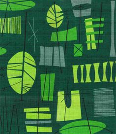 Green Tiki Leaves Barkcloth