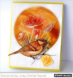 Designed by Judy of the Penny Black stamping squad Penny Black Cards, Penny Black Stamps, Card Making Inspiration, Making Ideas, Bee Cards, Greeting Cards Handmade, Handmade Tags, Fall Cards, Paper Cards