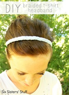 DIY Braided T-Shirt Headband Tutorial from SixSistersStuff.com.  Easy to make, comfortable and stylish! #diy #headband #hair