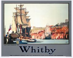 Buy online, view images and see past prices for Poster by Fred Tayler - Whitby Capt. Cook Embarking on the Posters Uk, Railway Posters, Illustrations And Posters, Retro Posters, British Travel, Travel Uk, National Railway Museum, Train Art, Vintage Artwork
