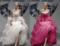 Over the top feather ball gown silhouette by Pnina Tornai. Cerise pink remix by Wedding Inspirasi