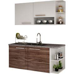 Cozinha Compacta Palmeira Nobilis Kit 10 Branco/Café 4 Peças: Armário Aéreo, 2 Cantoneiras e Balcão para Pia