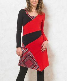 Look what I found on #zulily! Red & Black Geometric Shift Dress #zulilyfinds