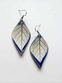 MediumLarge Blue Ceramic Leaf Earrings by AlainaSheenDesigns, $18.00