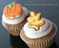 Pumpkin Spice Cupcakes | my kitchen addiction (with a link to cinnamon brown sugar frosting)