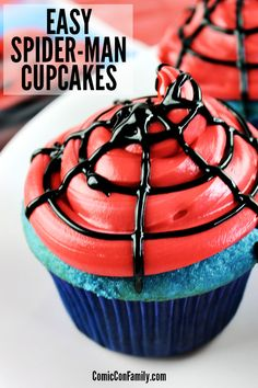 These Easy Spiderman Cupcakes are simple to make for a birthday party or movie night! You'll only need a few items - boxed cake mix, frosting, and some decorating supplies, which makes this the easiest of all superhero cupcakes. #spiderman #superheroes #birthdayparty #cupcake