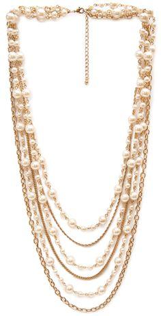 Sautoir en chaines doré et perles de culture blanche, Forever21