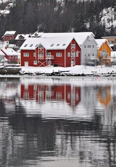 Red house in Namsos Norway View towards the northwest from the central quay in Namsos. Grey weather and rain after snow made saturated colors and dark trees that day. Namsos is a town with 12000 inhabitants 200 km north of Trondheim, Norway. The architecture of these houses is very typical for Namsos. photo; Martin Ystenes