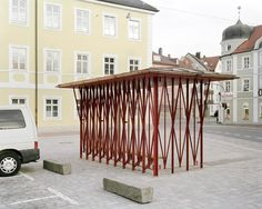 Max Otto Zitzelsberger, Bus Stop, Landshut, 2018 www. Structural Model, Gazebo, Pergola, Parvis, Timber Architecture, Shelter Design, Wood Structure, Street Furniture, Bus Stop