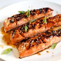 """Salmon Teriyaki ~ In the Japanese kitchen, """"teriyaki"""" means a dish that's glazed and grilled or broiled."""