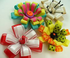Knotted Center Ribbon Flower PDF Tutorial by aSundayGirl on Etsy, $6.00