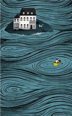 'La Isla de Hobson' by Natalia Zaratiegui illustration lines water flat Art And Illustration, Illustrations Posters, Grafik Design, Book Cover Design, Book Design, Art Design, Art Inspo, Cool Art, Art Photography