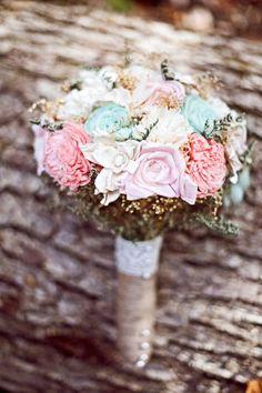 Romantic Wedding Bouquet -Pink and Mint Romantic Collection, Keepsake Alternative Bouquet, Sola Bouquet, Rustic Wedding