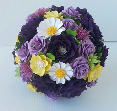 Paper Bouquet  Paper Flower bouquet - Shades of Purple - Daisy - Scottish Thistle - Purple and Yellow Bouquet