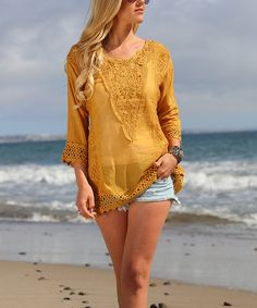 Look what I found on #zulily! Yellow Pierced Lace Tunic #zulilyfinds