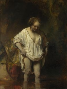 Rembrandt, A Woman Bathing in a Stream (Hendrickje Stoffels?), oil on panel, 1654 (London: National Gallery). Included in room 5 ('Intimacy') of the exhibition Rembrandt: The Late Works (Fall Rembrandt Art, Rembrandt Paintings, Art Paintings, Acrylic Paintings, Animal Paintings, Baroque Painting, Baroque Art, Chef D Oeuvre, Oeuvre D'art