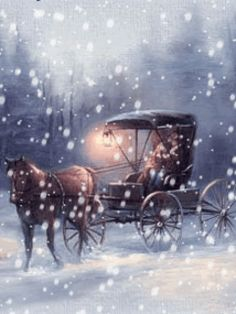 Buggy ride in the snow - GIF Winter Szenen, Winter Magic, Winter Time, Christmas Past, Christmas Images, Winter Christmas, Blue Christmas, Animated Christmas Pictures, Beautiful Christmas Scenes
