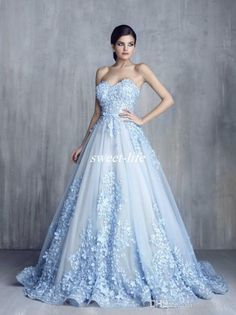 Ziad Nakad Charming 3D Floral Light Blue Appliques Long Evening Dresses 2017 Handmade Flower Sweetheart Ball Gown Lace Prom Pageant Gowns Evening Dresses Cheap Prom Dresses Online with 168.0/Piece on Sweet-life's Store | DHgate.com