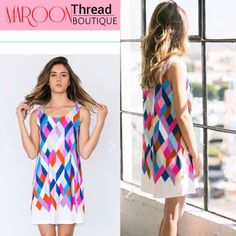 ✳️Piece of My Heart Color Block Dress✳️ Sweet little sleeveless color block dress.  Just perfect for Spring to Summer rotation.  Causal everyday wear 100% polyester Hand wash with cold water Do not bleach  Hand or line dry Made in USA  ❌Trade     Paypal ✅ at http://www.maroonthreadboutique.com Dresses Midi