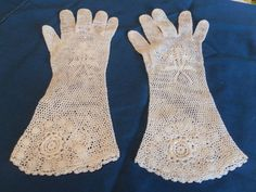 Antique crocheted gloves Mitten Gloves, Mittens, Vintage Gloves, Crochet Gloves, Hand Warmers, Fingerless Gloves, Vintage Antiques, Embroidery, Purses