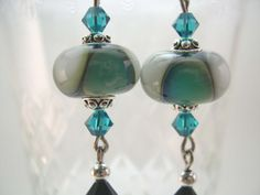 Lampwork Glass Earrings Swarovski Crystals by BeadsbyVince on Etsy