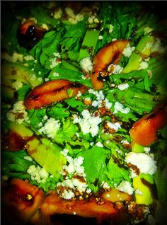 Simple Salads: Grilled Peach and Avocado Salad with Goat Cheese and Fig Vinegar and Burnt Sugar Reduction
