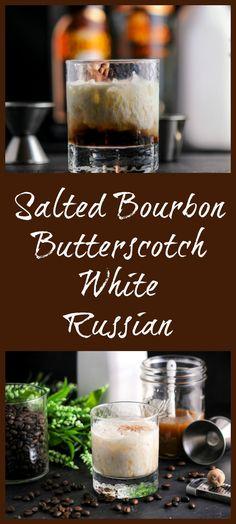 Salted Bourbon Butterscotch White Russian cocktail - kahlua, caramel vodka, cream. Recipe, drink